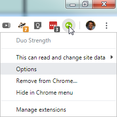 Duo Strength icon context menu